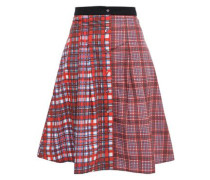 Pleated Checked Cotton-poplin Skirt Red