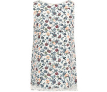 Floral-print Silk-crepe Top Off-white