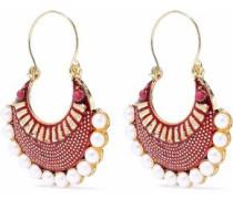 Gold-tone faux pearl and enamel earrings