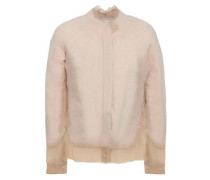 Frayed Paneled Cashmere And Voile Cardigan Ecru