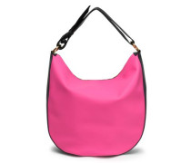 Textured Leather-trimmed Faux Leather Shoulder Bag Bright Pink Size --