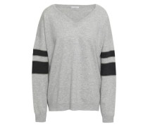 Mélange Striped Cashmere Sweater Light Gray