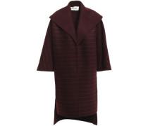 Pinstriped Wool-blend Felt Coat Merlot