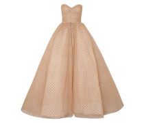 Strapless Glittered Polka-dot Tulle Gown Gold