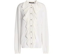 Ruffle-trimmed silk crepe de chine blouse