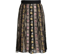 Embroidered gauze and lace midi skirt