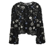 Floral-appliquéd Embroidered Chantilly Lace Bolero Black