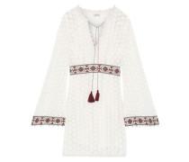 Embellished Crocheted Cotton Mini Dress White