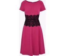 Lace-paneled cady mini dress