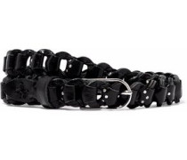 Studded woven leather belt