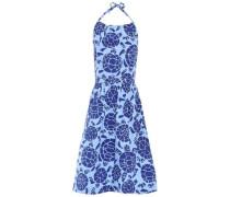 Sea Turtles Printed Cotton-poplin Halterneck Dress Light Blue Size 0