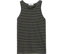 Striped Linen-jersey Tank Army Green