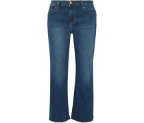 The Kick cropped mid-rise flared jeans