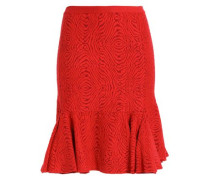 Ruffled jacquard-knit skirt