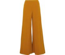 Rian Ribbed Cotton-blend Wide-leg Pants Mustard