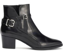 Buckled Glossed-leather Ankle Boots Black
