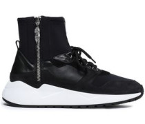 Leather And Suede-paneled Suede Sneakers Black