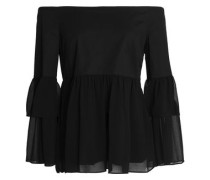 Off-the-shoulder stretch-cotton and gathered chiffon top
