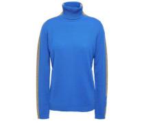 Woman Striped Cashmere-blend Turtleneck Sweater Bright Blue