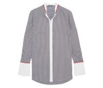Embroidered striped cotton-piqué shirt