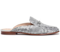 Snake-print Metallic Leather Slippers Silver