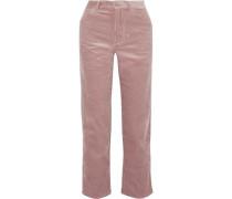 Papy Cropped Cotton-corduroy Straight-leg Pants Antique Rose