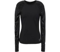 Duchess Satin-paneled Gathered Stretch-jersey Top Black