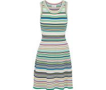 Striped Ribbed-knit Mini Dress Multicolor