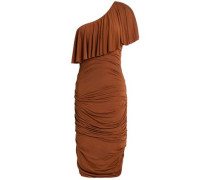 One-shoulder layered ruched stretch-modal dress