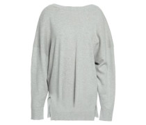 Open-back Cotton And Cashmere-blend Sweater Light Gray