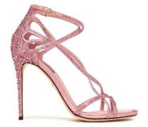 Keira Crystal-embellished Cutout Satin Sandals Baby Pink