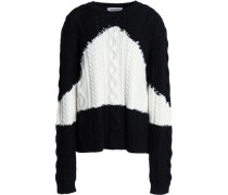 Two-tone calbe-knit wool and cashmere-blend sweater