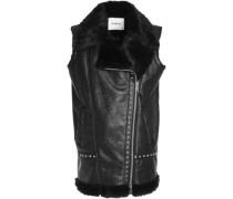 Studded coated faux shearling vest