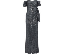 Off-the-shoulder Knotted Sequined Tulle Gown Charcoal