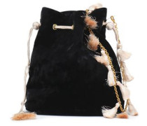 Nicolette Tasseled Crushed-velvet Bucket Bag Black Size --