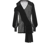 Woman Cutout Draped Chiffon, Lace And Point D'esprit Blouse Black
