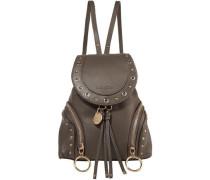 Embellished Textured-leather Backpack Mushroom Size --