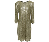 Sequined Tulle Mini Dress Gold