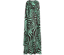 Cape-back printed silk-jersey gown