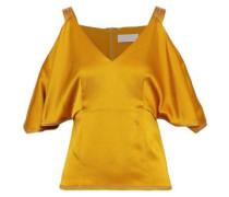 Cold-shoulder Satin-crepe Top Saffron