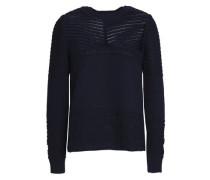 Pointelle-knit Cotton Sweater Navy Size 0