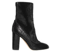 Calexa Sequined Stretch-twill Sock Boots Black