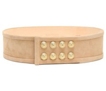 Button-embellished suede belt
