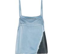 Tie-dyed Silk-satin Camisole Light Blue Size 0