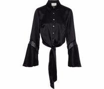Genevieve tie-front Chantilly lace-trimmed silk-satin shirt