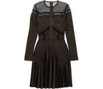 Tulle-paneled metallic ribbed-knit mini dress