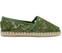 Leather-trimmed Corded Lace Espadrilles Army Green