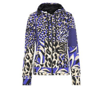 Printed Stretch-cotton Jersey Hoodie Animal Print