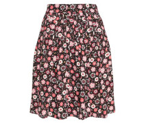 Pleated floral-print crepe mini skirt
