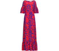 Fluted Printed Silk-crepe Maxi Dress Red